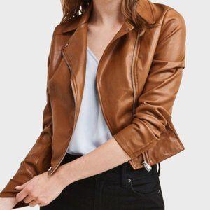 DYNAMITE Camel Moto Leather Jacket -Size S